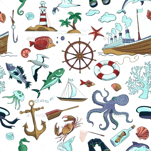 Colored Nautical or Marine Themed Seamless Pattern - Patterns Decorative