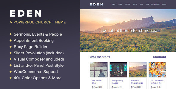 Eden – A WordPress Theme for Churches
