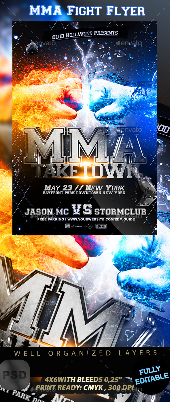MMA Fight Flyer Template - Sports Events