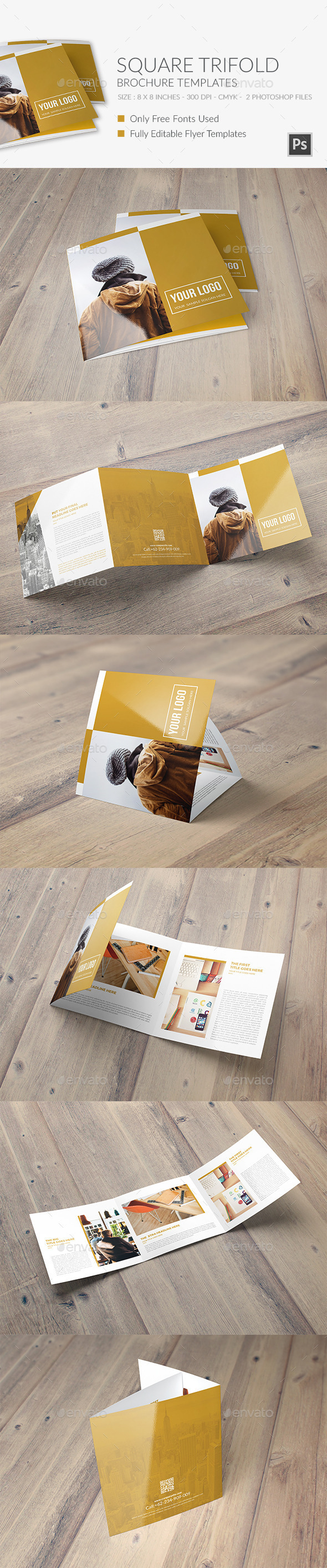 Square Trifold Brochure 4 - Brochures Print Templates