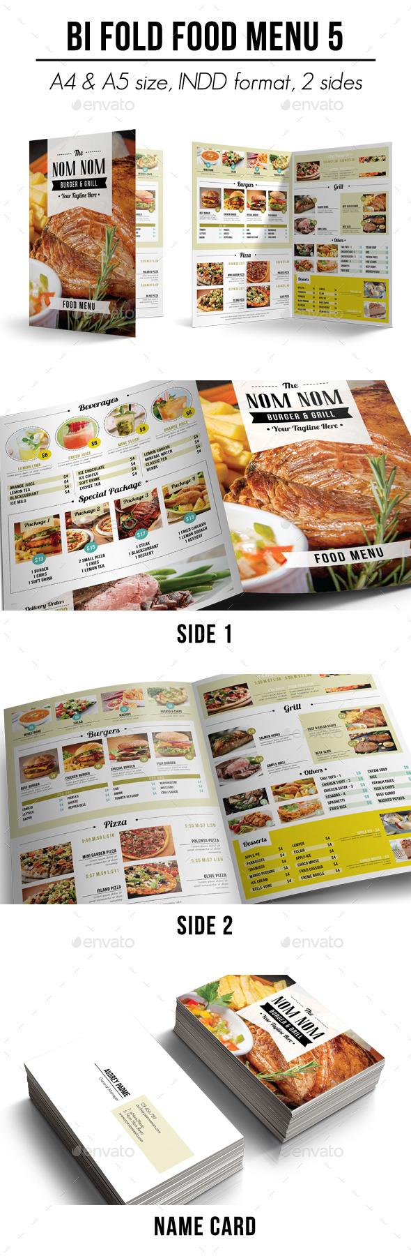 Bi Fold Food Menu - 5 - Food Menus Print Templates