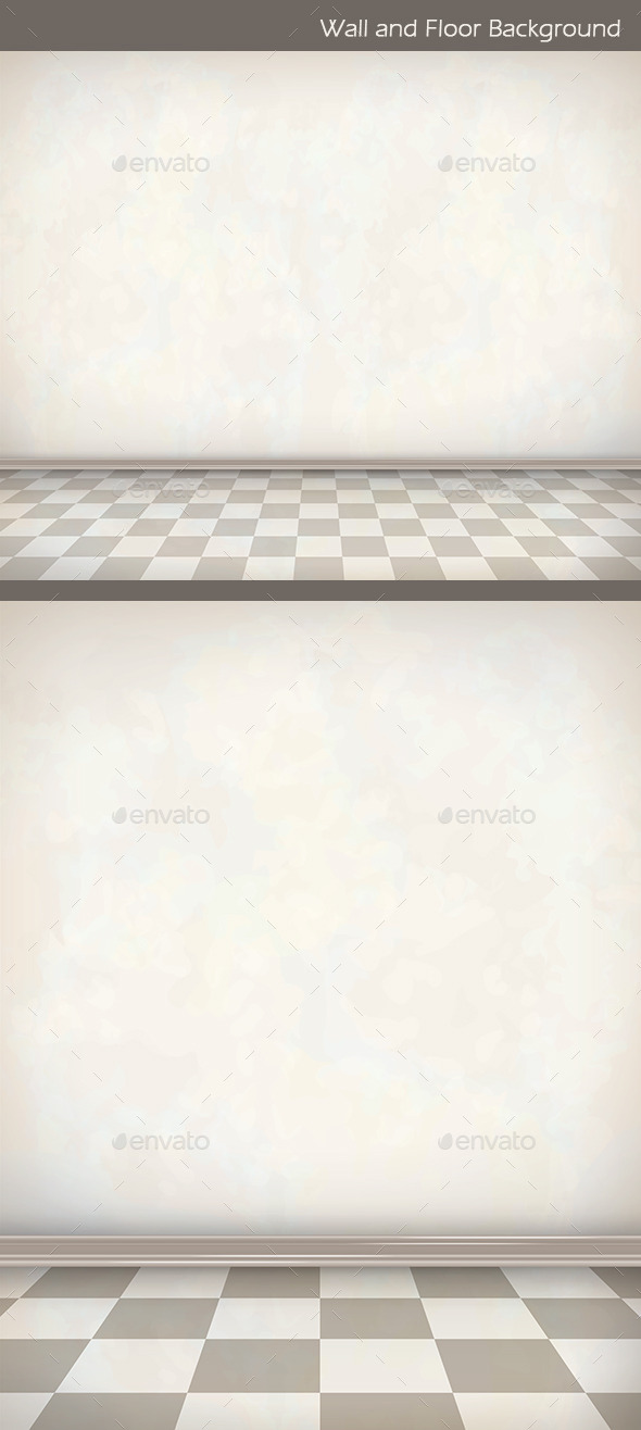 White Wall and Tiled Floor Background