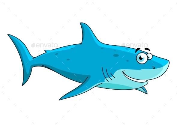 Swimming Shark Cartoon Character - Animals Characters