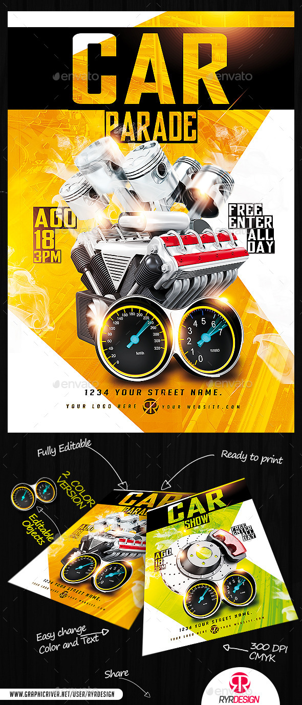Car Show And Car Parade PSD Flyer - Events Flyers