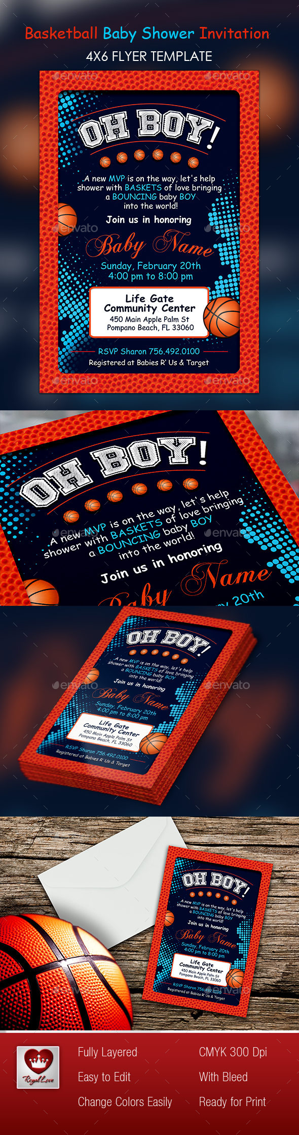 Basketball Baby Shower 4x6 Invitation by royallove | GraphicRiver