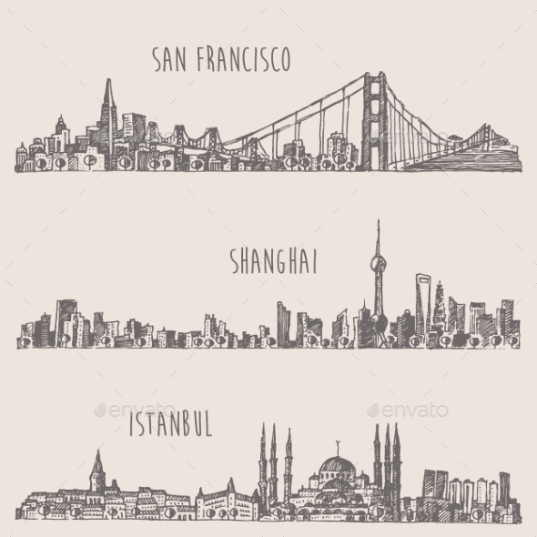 Shanghai Istanbul San Francisco City Sketch - Travel Conceptual