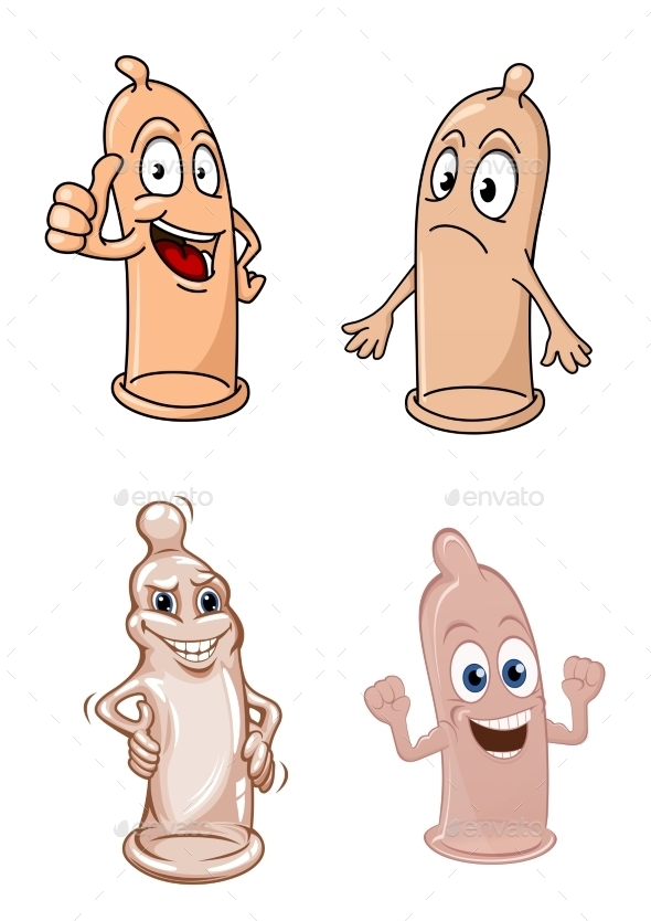 Cartoon Latex Condoms Characters - Health/Medicine Conceptual