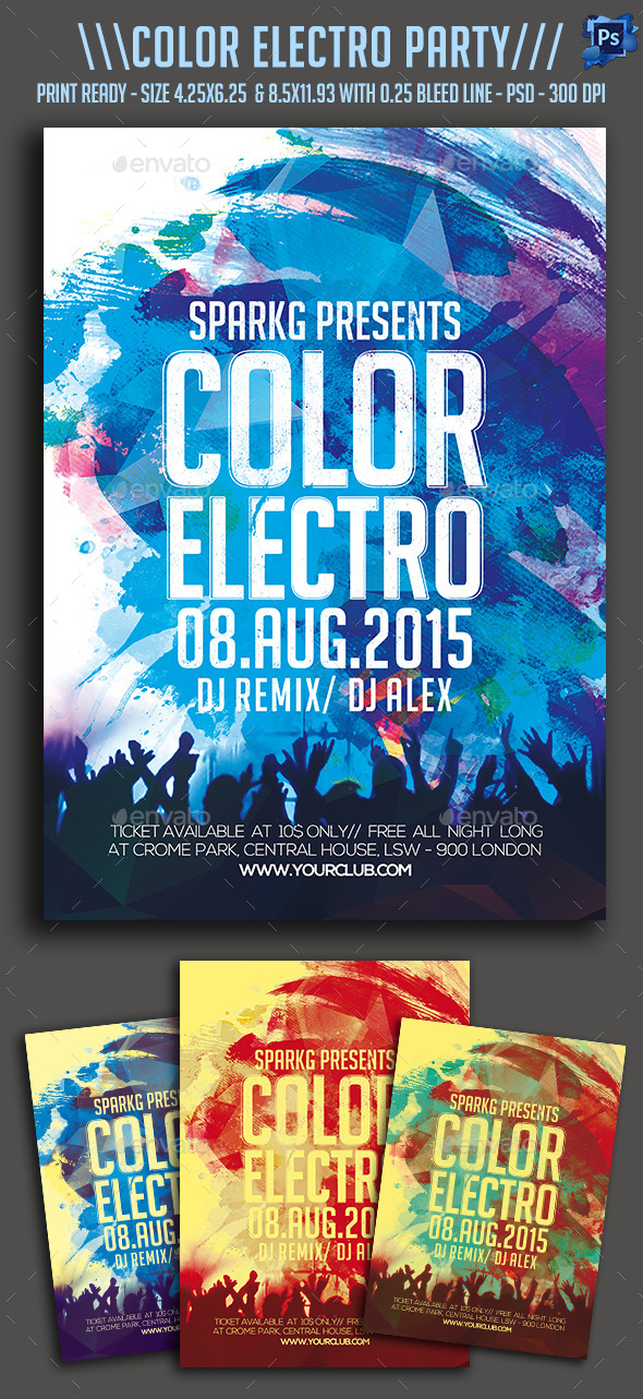 Color Electro Party Flyer - Clubs & Parties Events