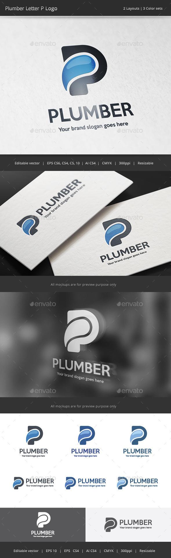 Plumber Letter P Logo - Letters Logo Templates
