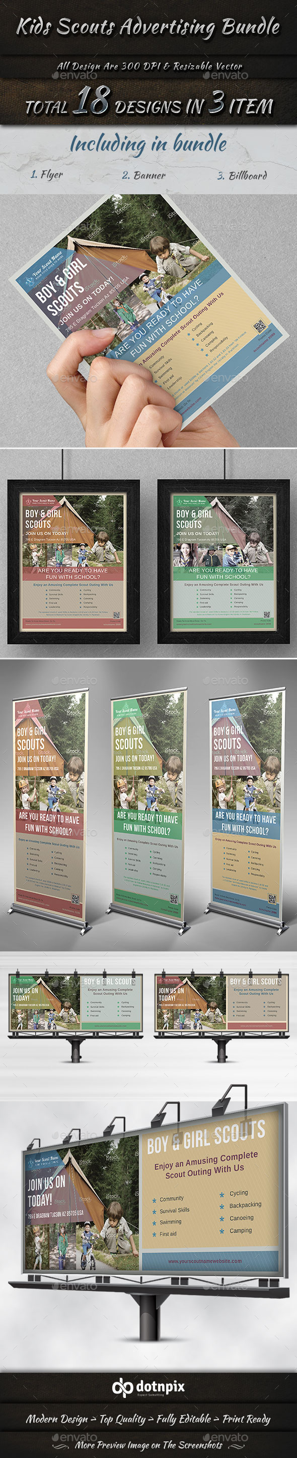 Kids Scouts Advertising Bundle - Stationery Print Templates