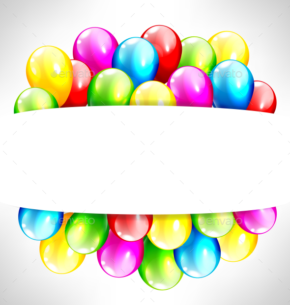 Multicolor Inflatable Balloons with Frame on Gray