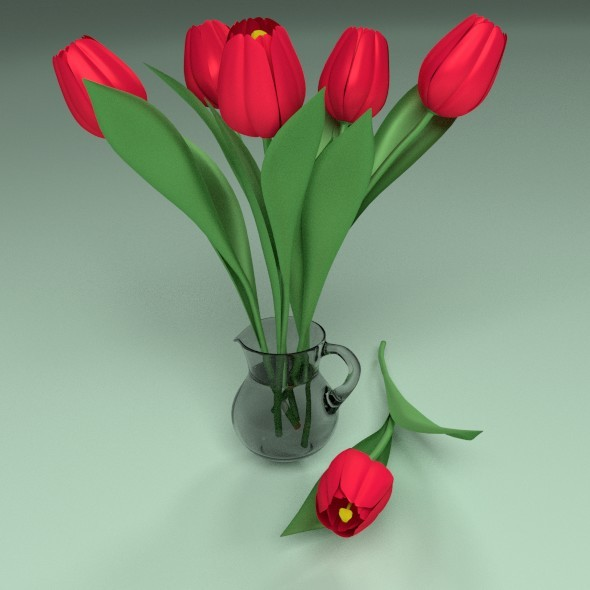 Tulips in a glass jar - 3DOcean Item for Sale