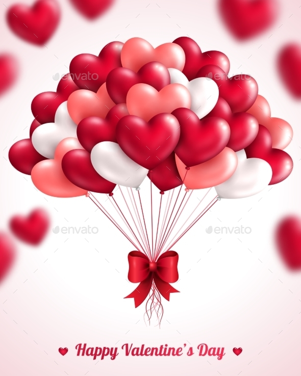 Valentine's Day Background with Heart Balloons - Valentines Seasons/Holidays