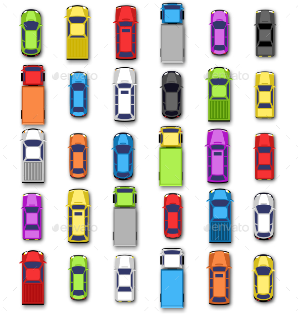 Multicolored Car Collection with Shadow on White - Man-made Objects Objects
