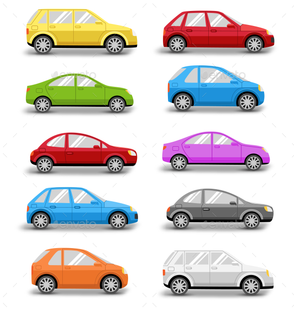 Multicolored Cars Collection with Shadow on White - Man-made Objects Objects