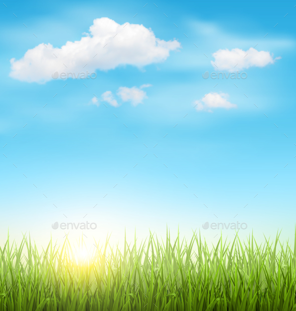 Green Grass Lawn with Clouds and Sun on Blue Sky - Landscapes Nature