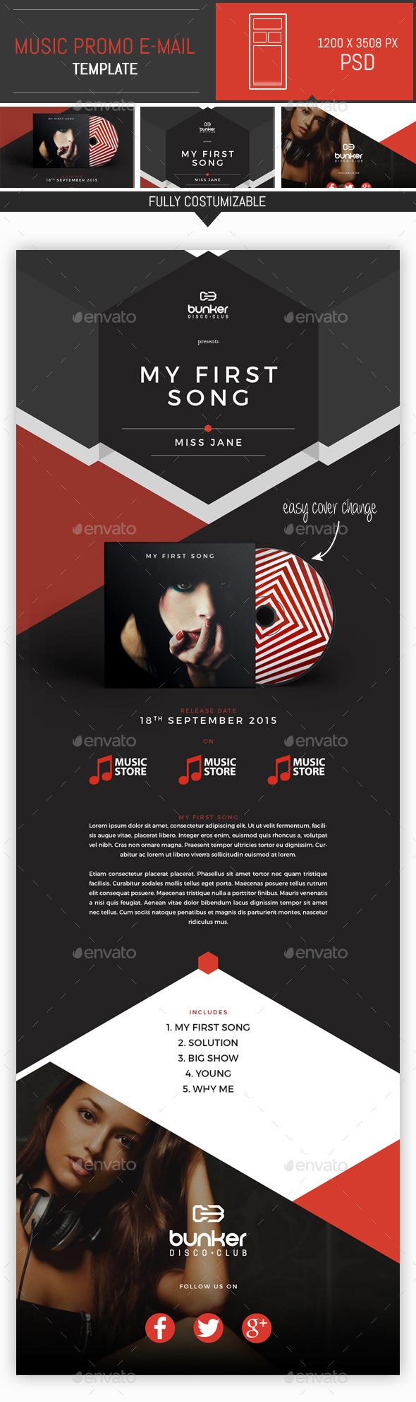 Music Promo PSD Email Template By DogmaDesign GraphicRiver - Promotional mailer template