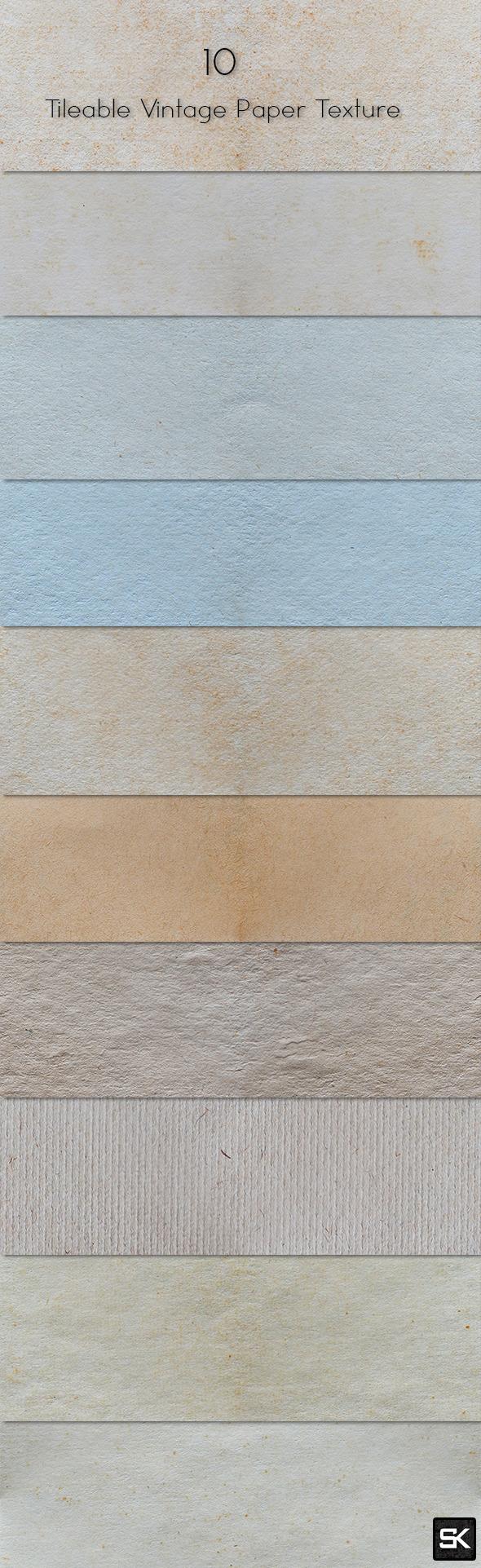 10 Tileable Vintage Paper Texture - Miscellaneous Textures / Fills / Patterns