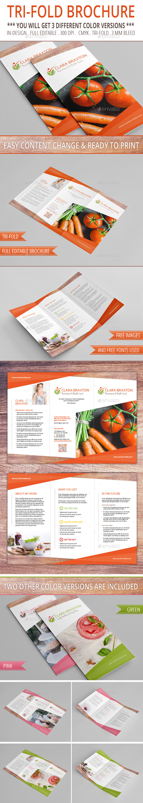 Tri-Fold Brochure with 3 Color Versions - Corporate Brochures
