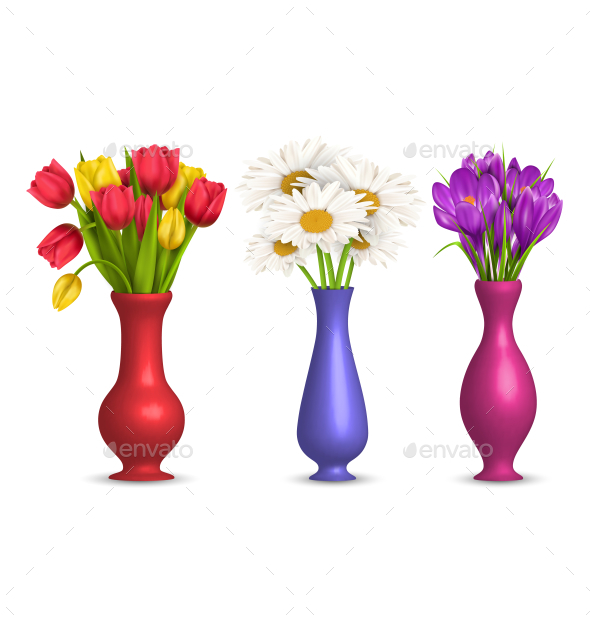 Flowers Chamomiles Tulips and Crocuses in Vases - Flowers & Plants Nature