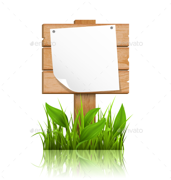 Wooden Signpost with Grass and Deflected Paper - Flowers & Plants Nature