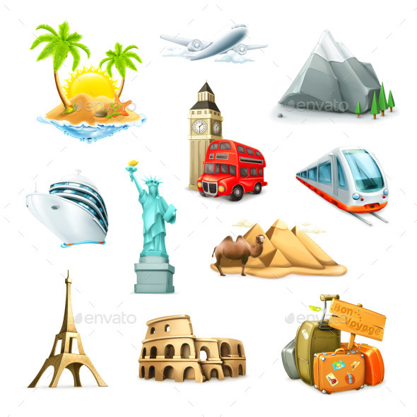 Travel and  Attractions Icons - Travel Conceptual