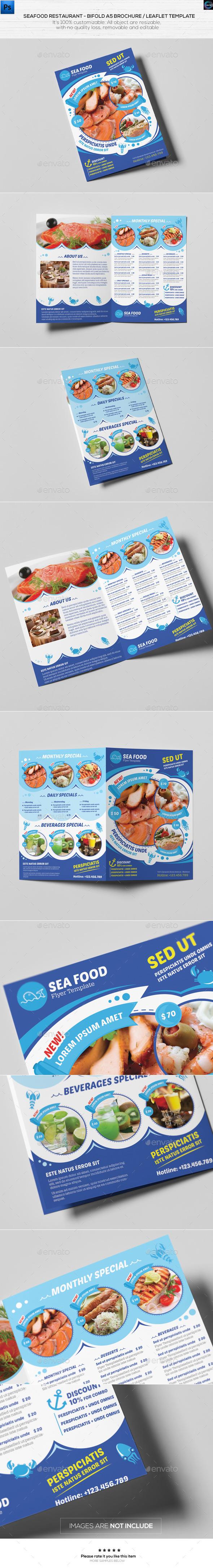 Seafood Restaurant-A5 Brochure/Leaflet Template - Catalogs Brochures