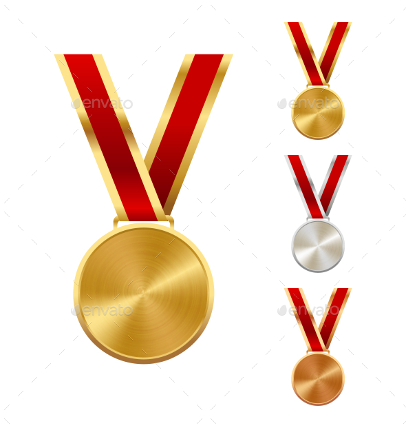 Golden Silver and Bronze Festive Winners Medals