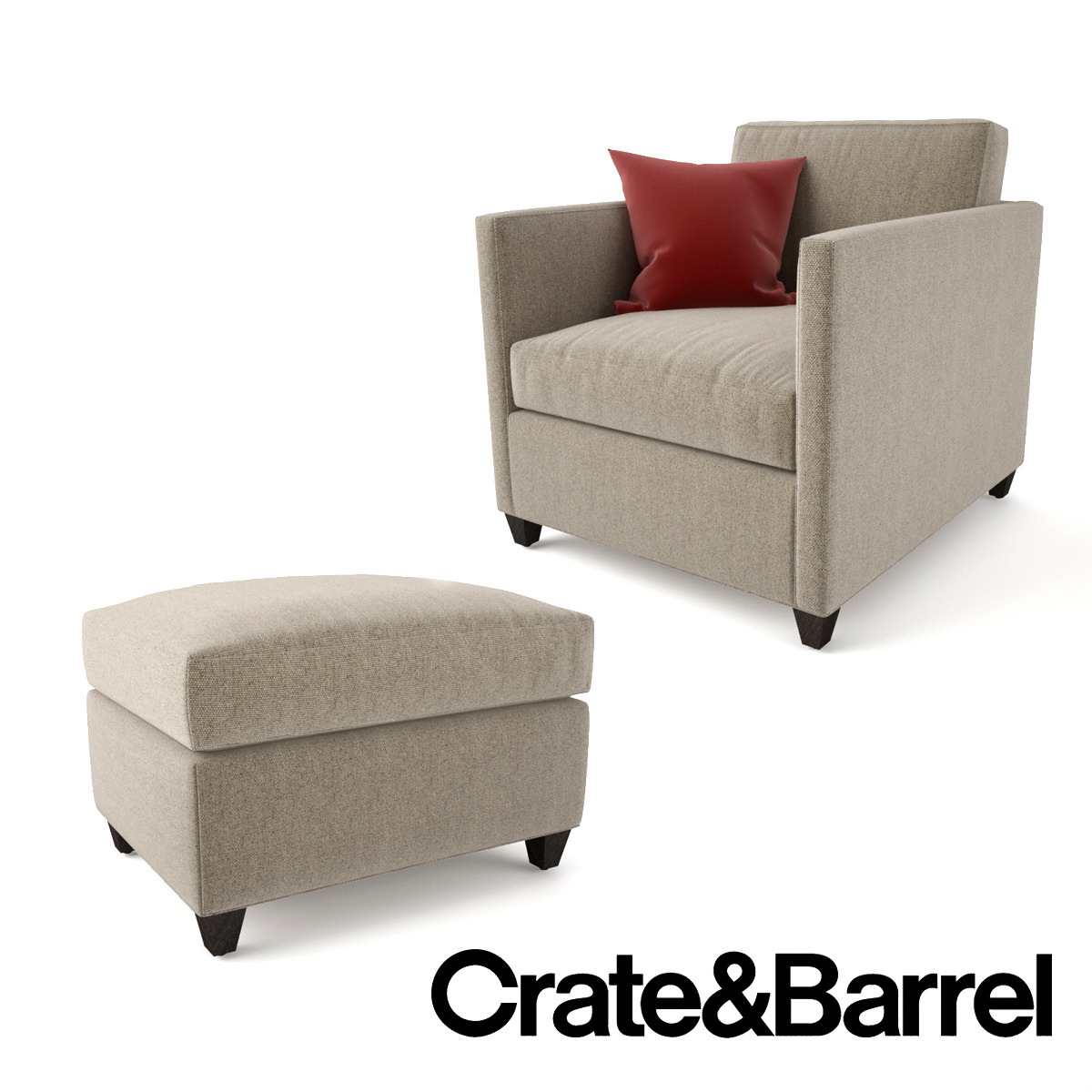crate and barrel dryden chair and ottoman by emp otu 3docean. Black Bedroom Furniture Sets. Home Design Ideas