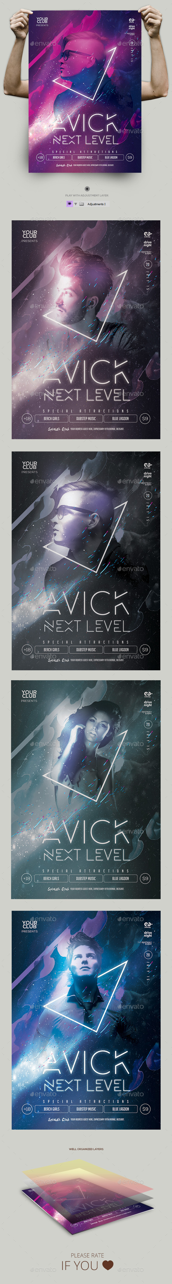 Electro Flyer Template PSD  - Clubs & Parties Events