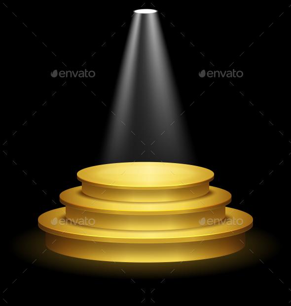 Illuminated Festive Golden Premium Stage Podium - Miscellaneous Vectors