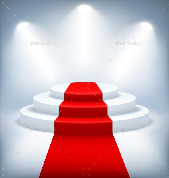 Illuminated Festive Stage Podium on White - Miscellaneous Vectors