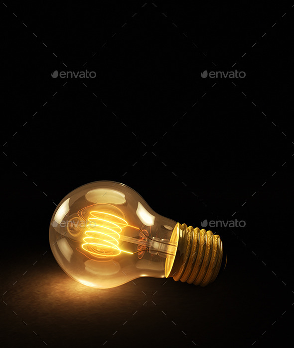 Glowing Incandescent Light Bulb on a Dark Backgrou - Objects 3D Renders