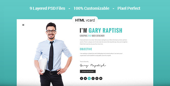 raptish premium vcard resume html template by premiumlayers