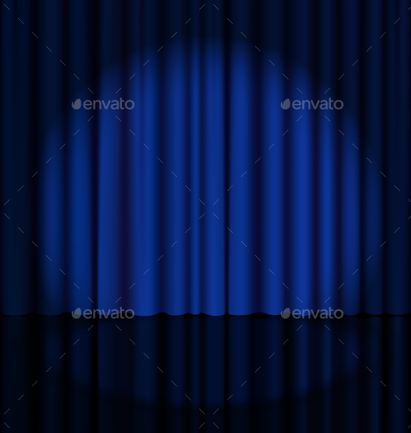 Blue Stage Curtain with Light Spot - Miscellaneous Vectors