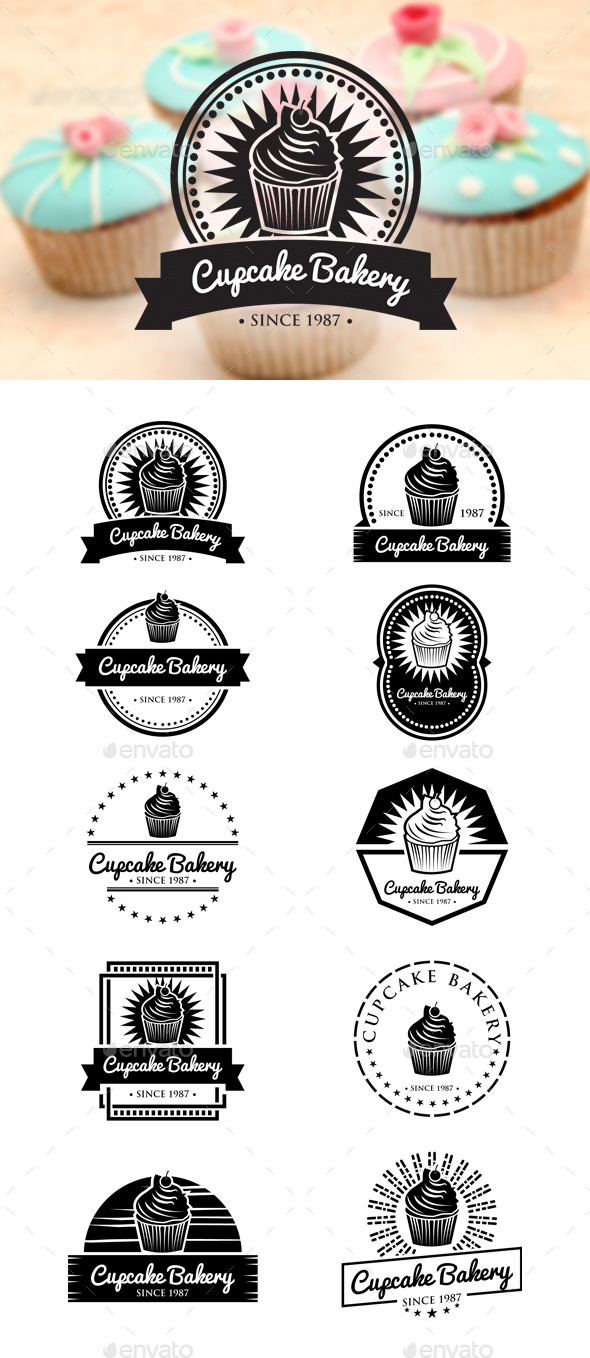 Retro Cupcake Badges - Badges & Stickers Web Elements