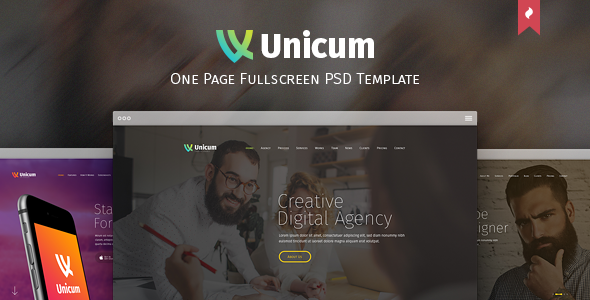 Unicum - One Page Fullscreen PSD Template - Creative PSD Templates