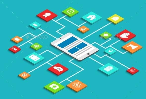 Vector Modern Concept 3d Isometric Smartphone  - Web Technology