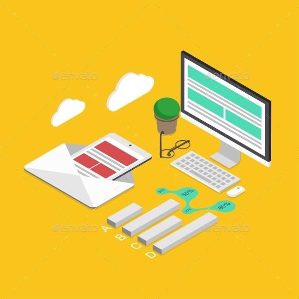 Vector Modern Concept 3d Isometric Analytics  - Web Technology