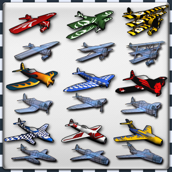 Air Plane Pack 9 Models With LODs - 3DOcean Item for Sale