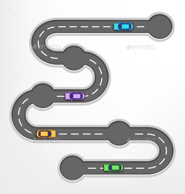 Road Infographic Travel Background with Cars - Travel Conceptual