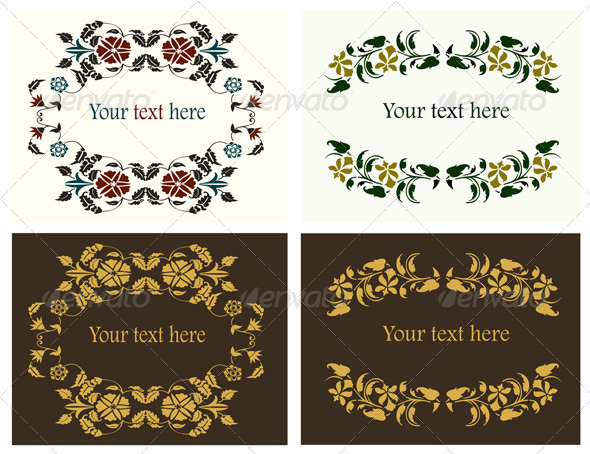 Flower decorative borders set - Borders Decorative