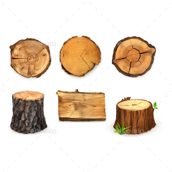 Wooden Stumps Icons - Objects Vectors