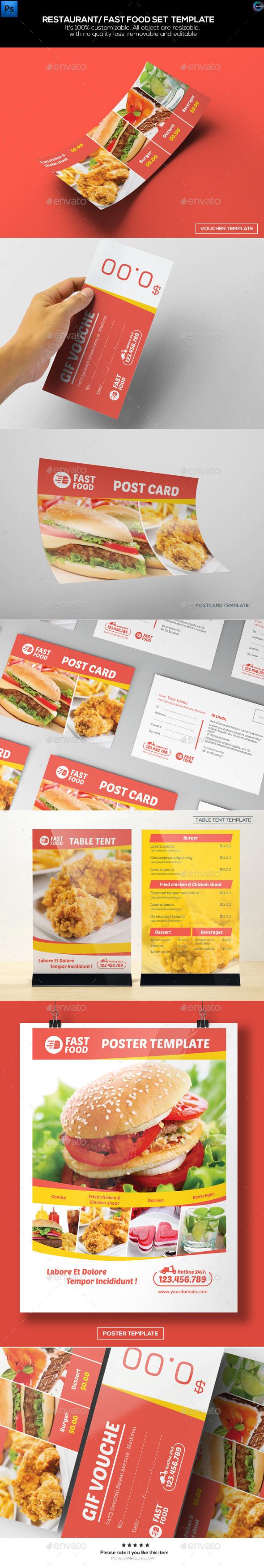 Restaurant/ Fast Food Set Templates - Food Menus Print Templates