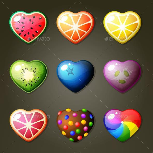 Fruit Heart Candies  - Food Objects