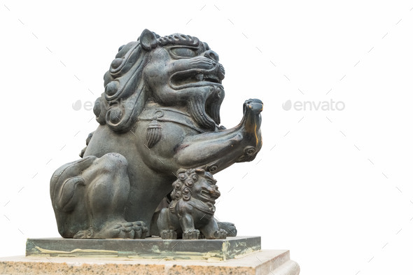 copper lion statue isolated - Stock Photo - Images