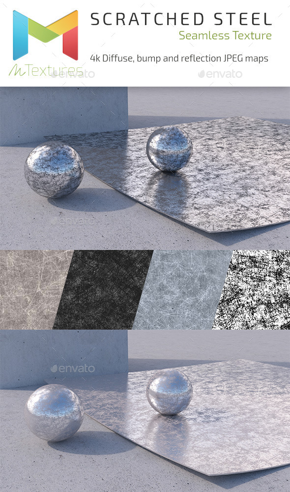 Scratched Steel 4k Textures - 3DOcean Item for Sale