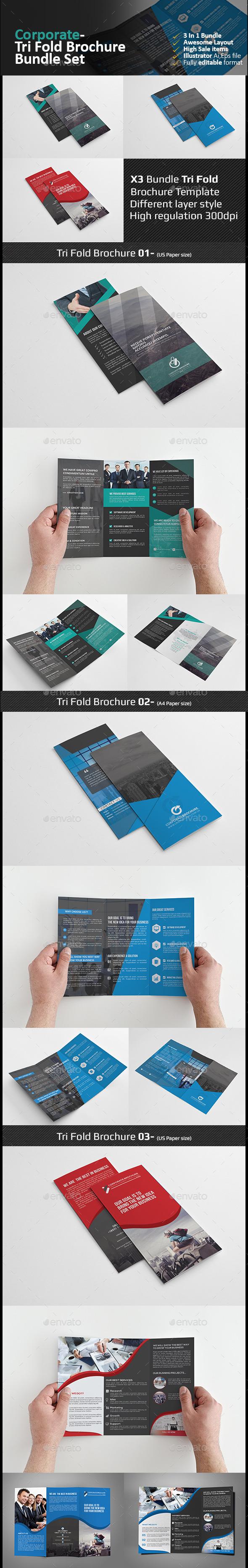 Tri Fold Brochure Bundle-02 - Corporate Brochures