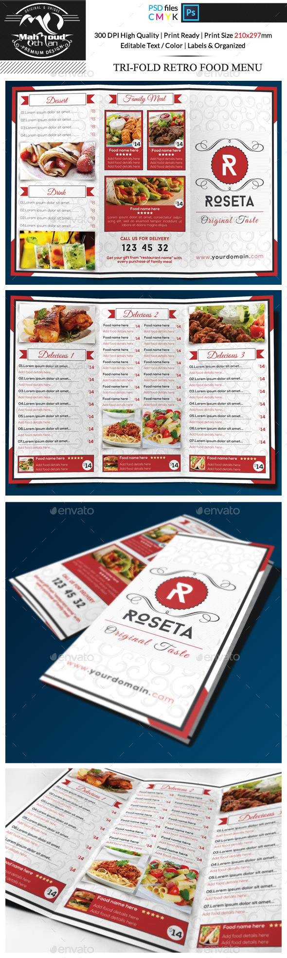 Retro Restaurant Food Menu Trifold  - Food Menus Print Templates