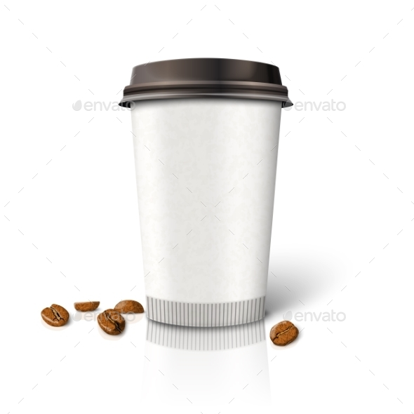 Blank Paper Coffee Cup with Beans